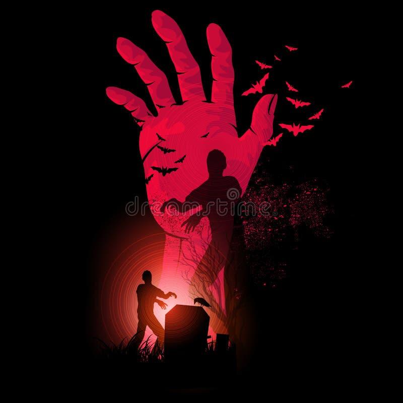 Noche del zombi stock de ilustración