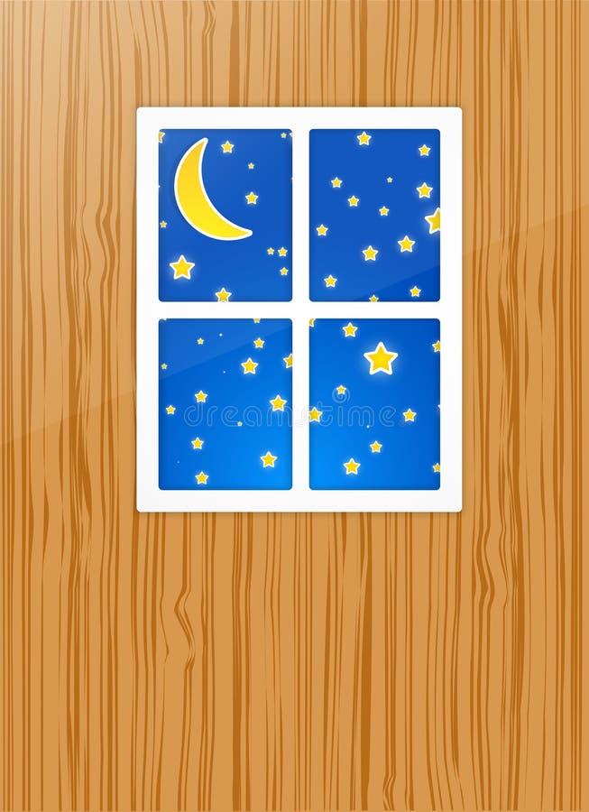 Noche después de una ventana stock de ilustración