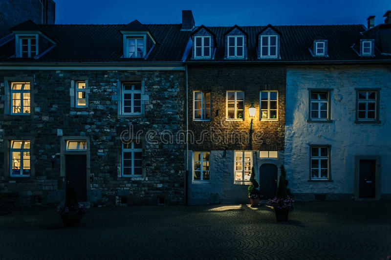 Noche en Aquisgrán imagen de archivo libre de regalías