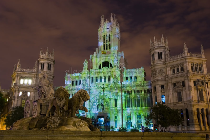 Noche En Blanco / White Night. The Cibeles fountain in front of the central post office of Madrid. Images from the Noche En Blanco / White Night festival in stock photo