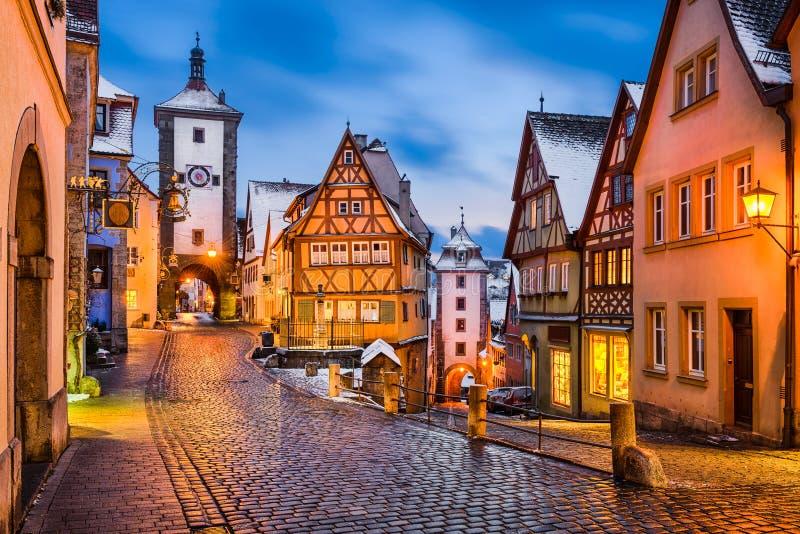 Noche en el der Tauber, Alemania del ob de Rothenburg fotografía de archivo libre de regalías