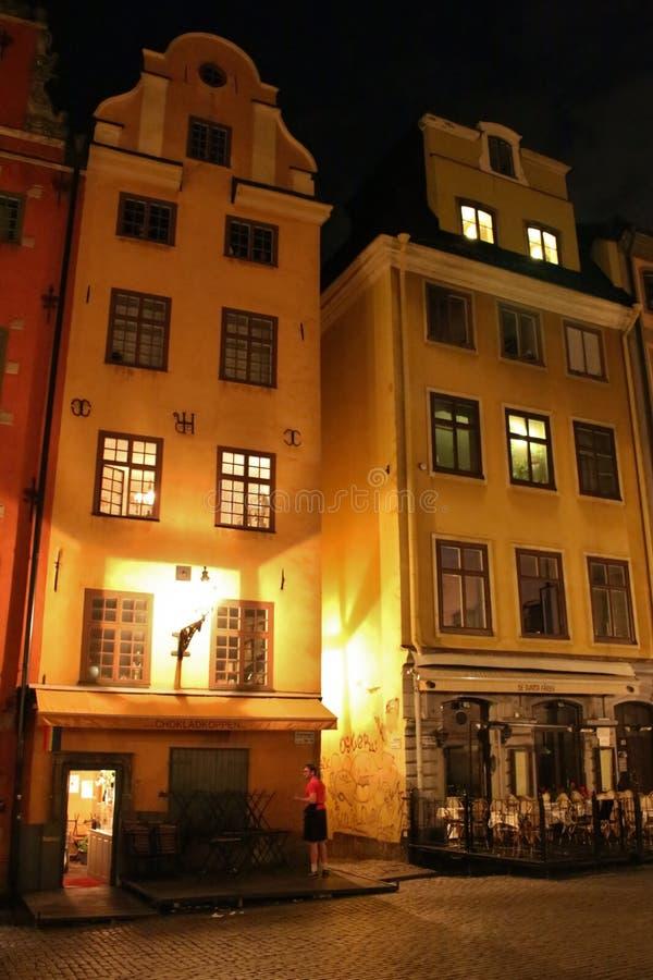 Noche en Stortorget en Estocolmo fotos de archivo