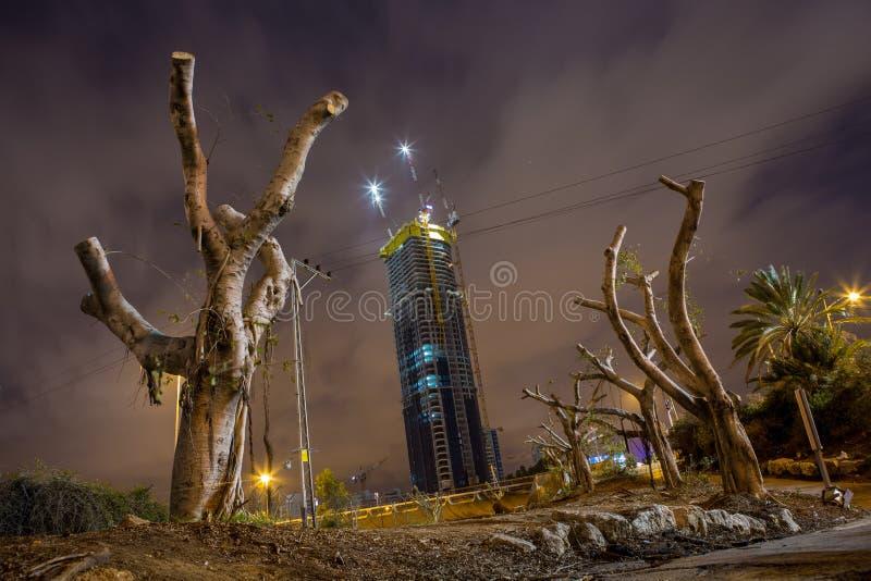 Noche en Tel Aviv fotografía de archivo