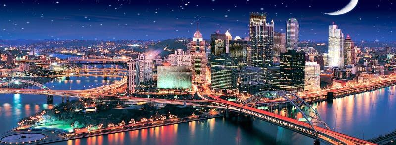 Noche estrellada en Pittsburgh imagen de archivo libre de regalías