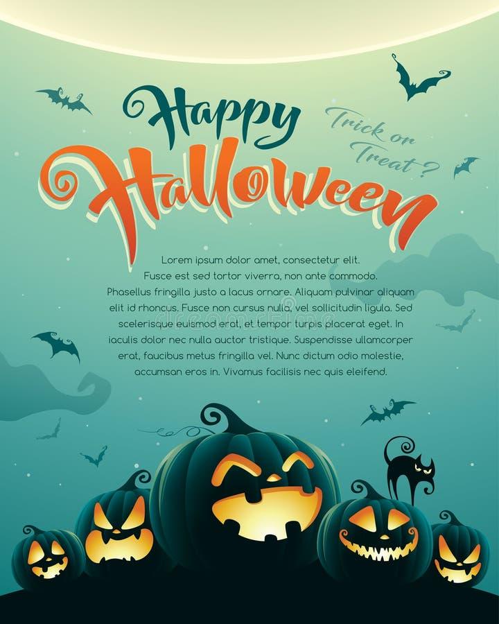 Noche fantasmagórica de Halloween con las calabazas cartel stock de ilustración
