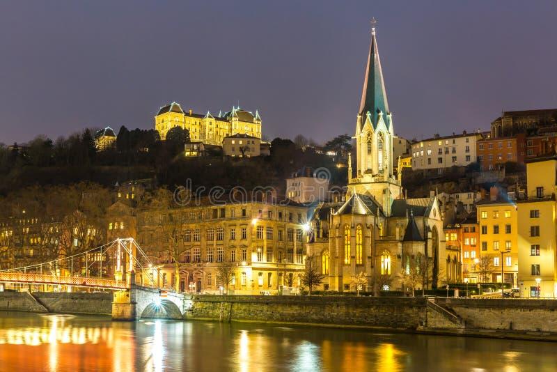 Noche Francia de Lyon foto de archivo libre de regalías