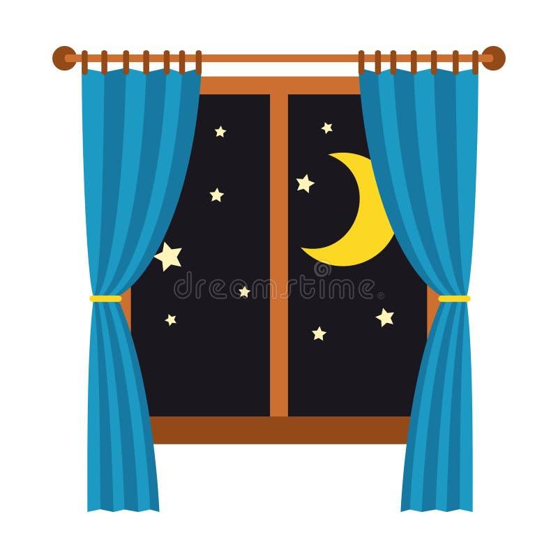 Noche hacia fuera la ventana con las cortinas azules aisladas en el fondo blanco Sueño y resto ilustración del vector