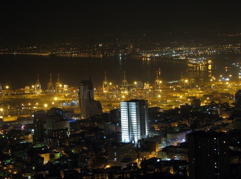 Noche Haifa foto de archivo