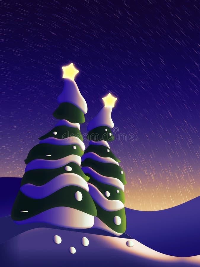 Noche hermosa del invierno stock de ilustración