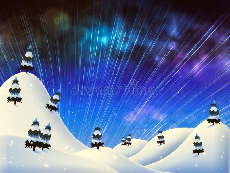 Noche hermosa del invierno ilustración del vector