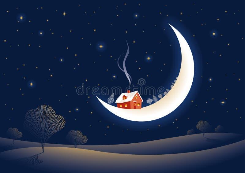 Noche iluminada por la luna de la Navidad stock de ilustración