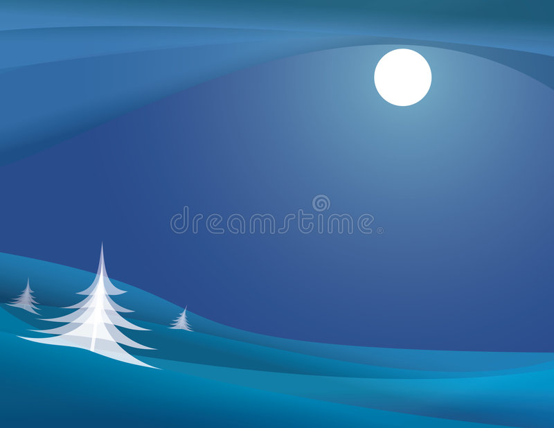 Noche iluminada por la luna del invierno stock de ilustración