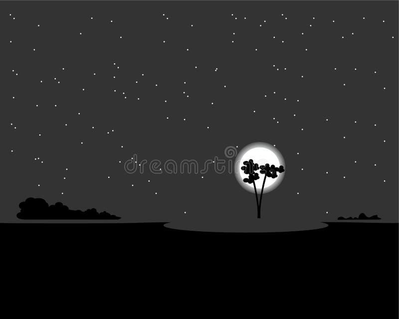 Noche iluminada por la luna del vector_A del paisaje foto de archivo libre de regalías