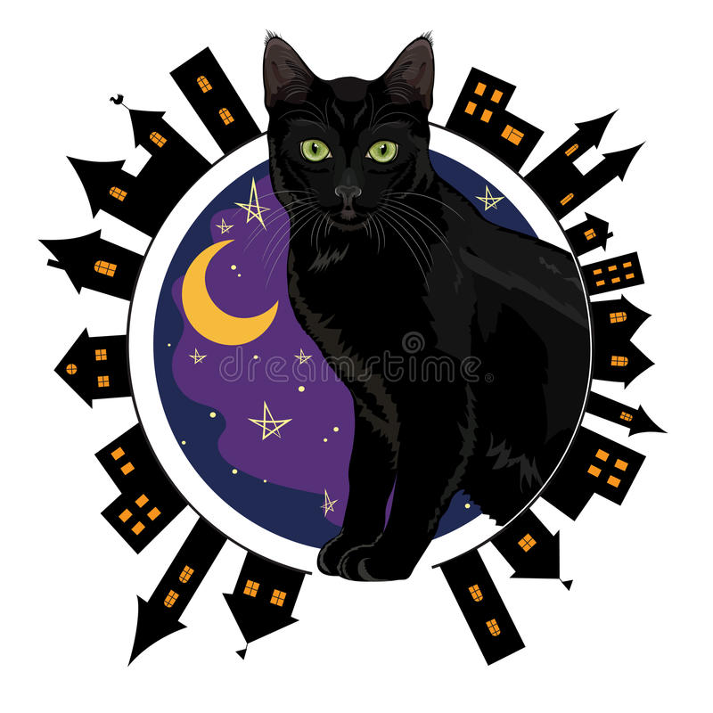 Noche la ciudad vieja y el gato de ojos verdes negro que se sientan en un fondo del cielo nocturno estrellado stock de ilustración