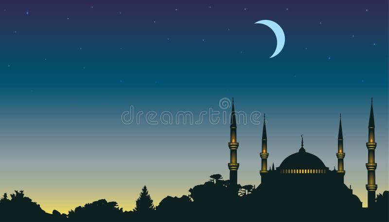 Noche, la luna y una mezquita ilustración del vector