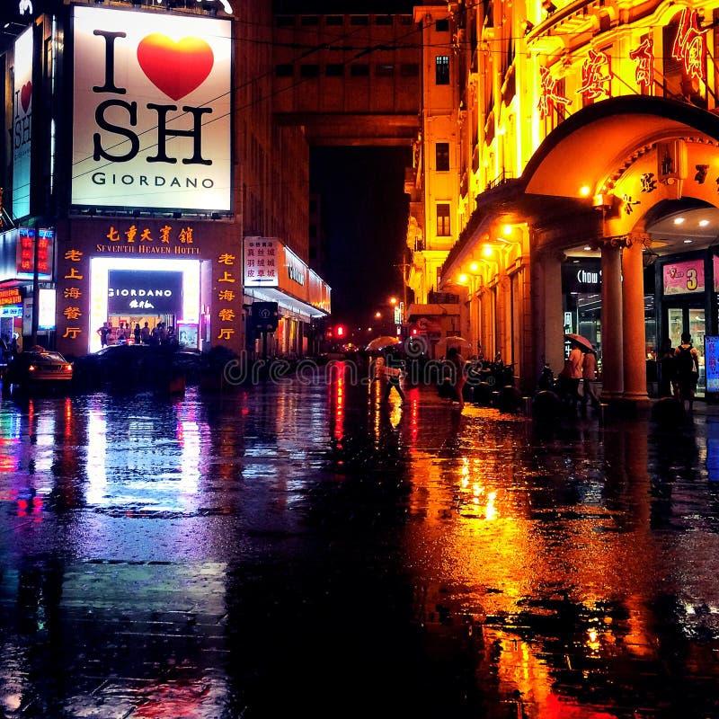 Noche lluviosa en Shangai foto de archivo libre de regalías