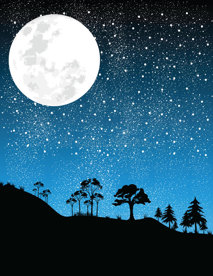 Noche-luna   ilustración del vector
