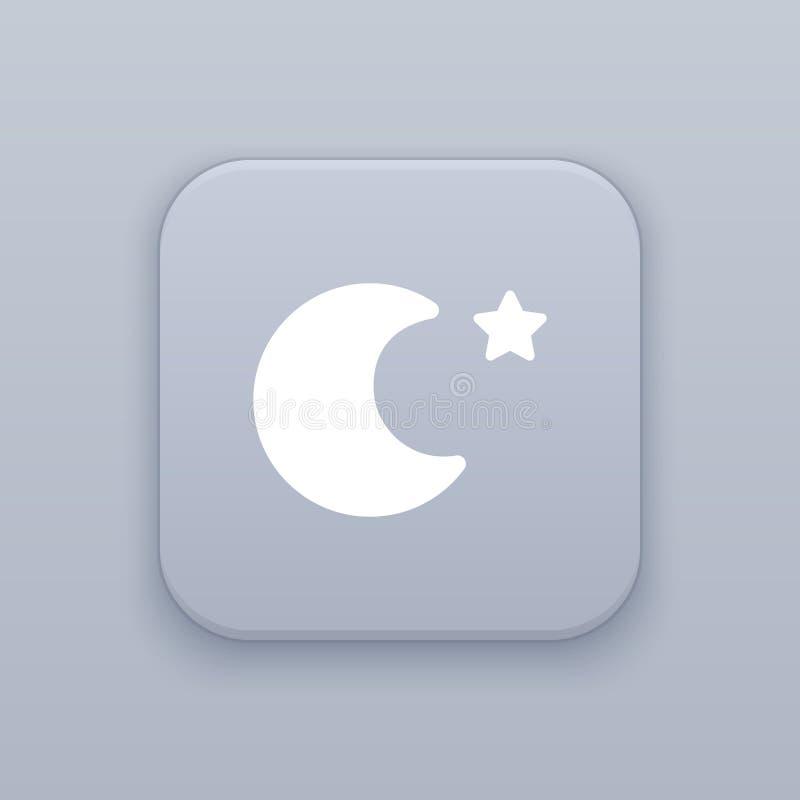 Noche, luna, botón gris del vector con el icono blanco stock de ilustración