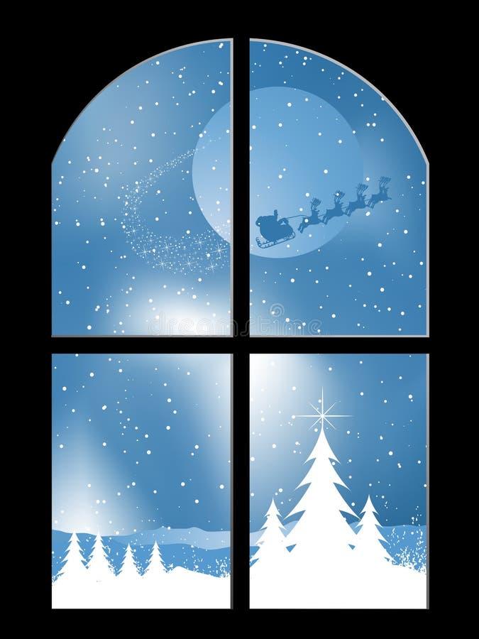 Noche Nevado a través de una ventana stock de ilustración