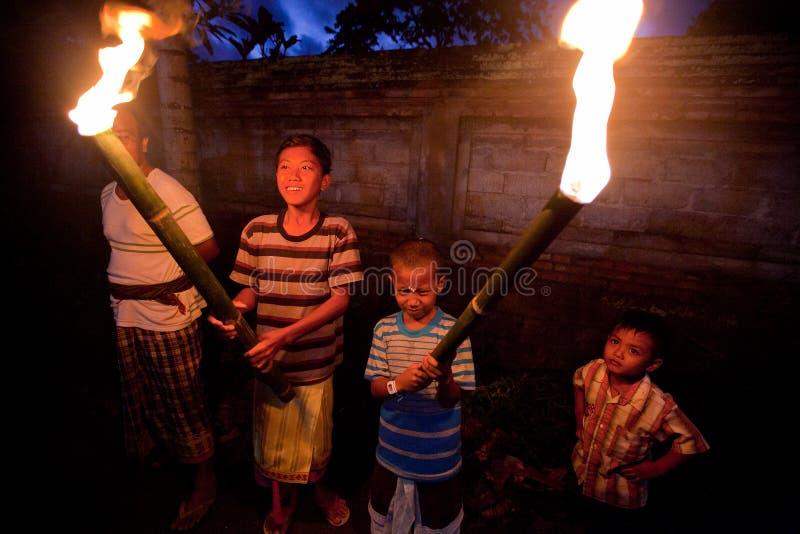 Noche Nyepi - Año Nuevo del Balinese fotografía de archivo libre de regalías