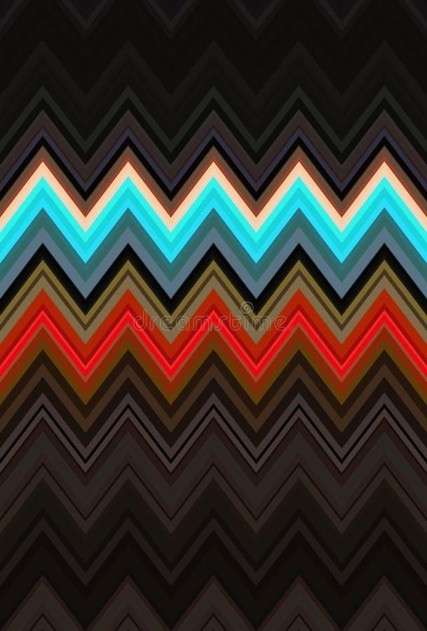 Noche oscura del modelo de zigzag geom?trica fantasía del ornamento ilustración del vector