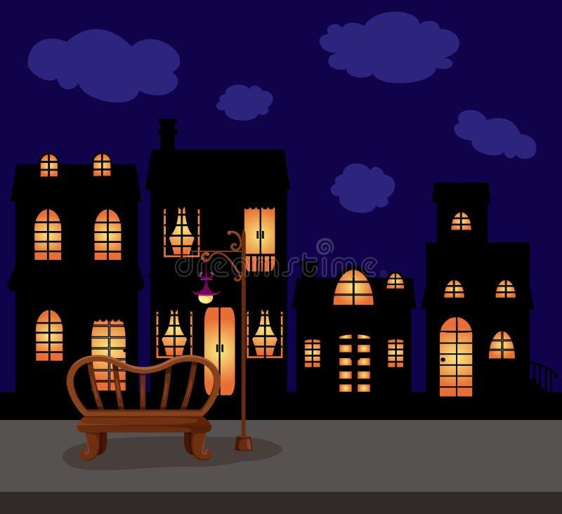 Noche oscura del paisaje urbano con la rama y la lámpara de calle vacías stock de ilustración
