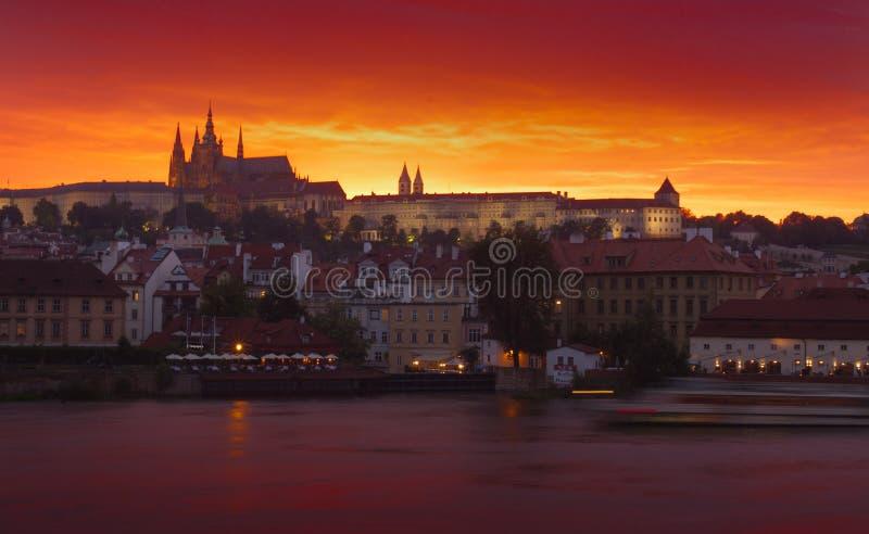 Noche Praga fotografía de archivo