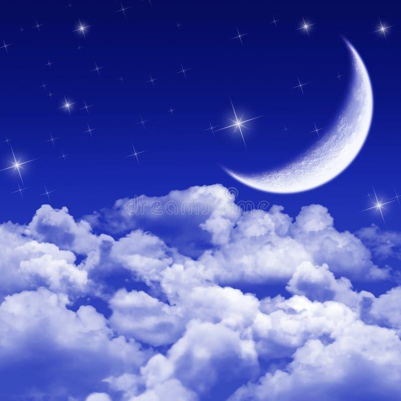 Noche silenciosa, noche iluminada por la luna stock de ilustración
