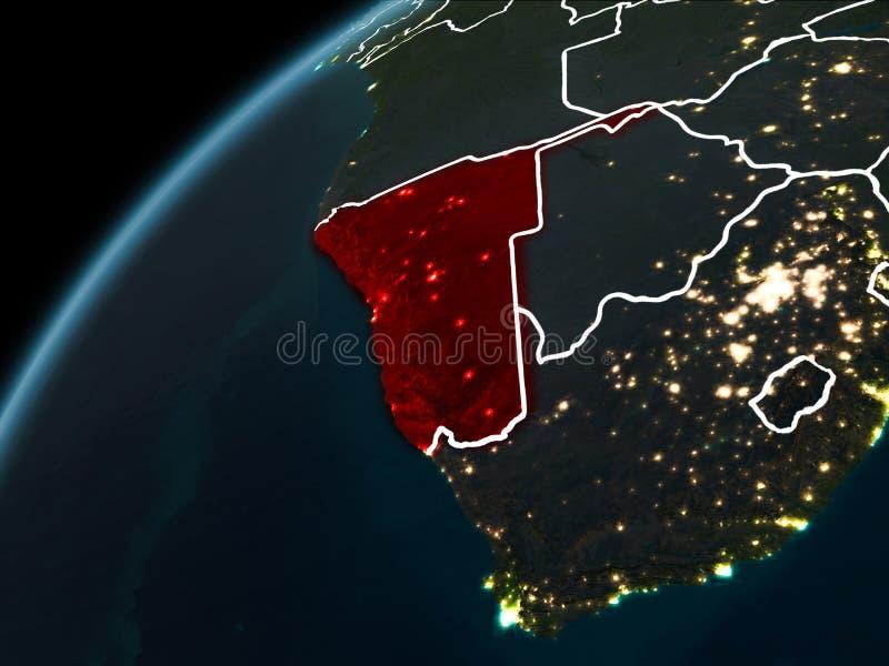 Noche sobre Namibia stock de ilustración