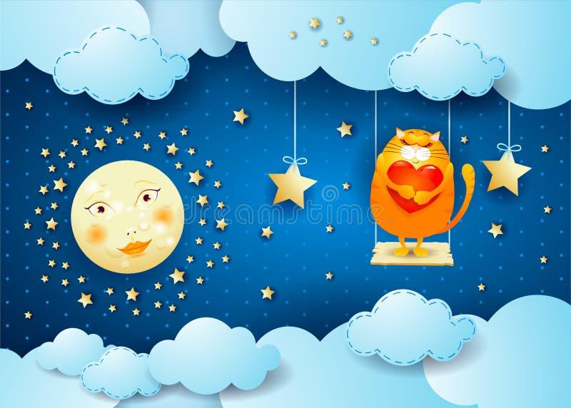 Noche surrealista con la luna, el oscilación y el gato ilustración del vector