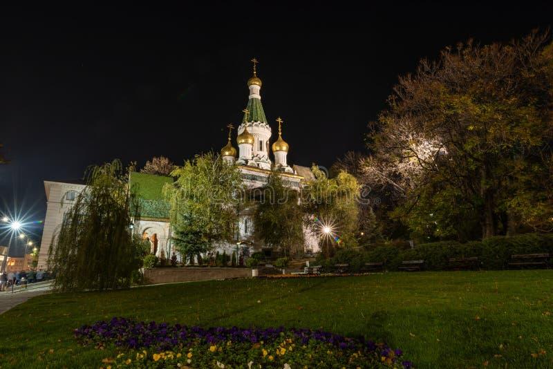 Noche tirada de la iglesia de San Nicolás la iglesia del Milagro-fabricante adentro imagen de archivo