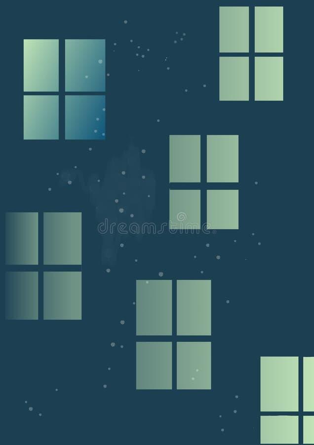 Noche Windows en la ciudad foto de archivo libre de regalías