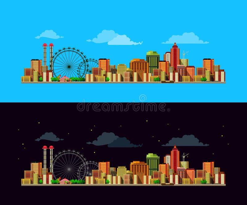 Noche y día de la ciudad ilustración del vector