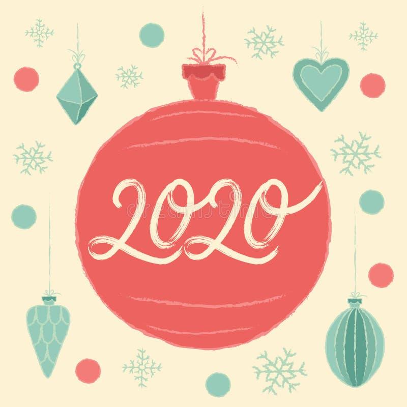 Nochebuena 2020. Feliz Navidad y tarjeta de felicitación de Año Nuevo Feliz stock de ilustración