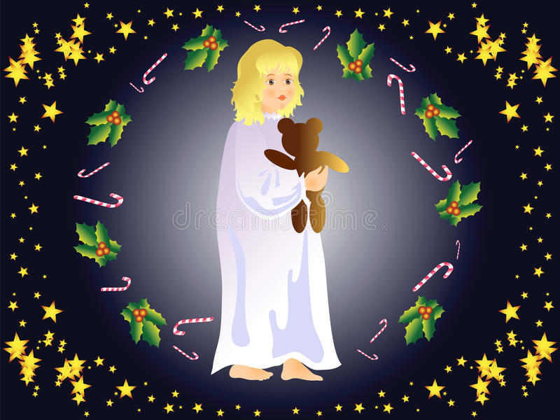Nochebuena (niña) stock de ilustración