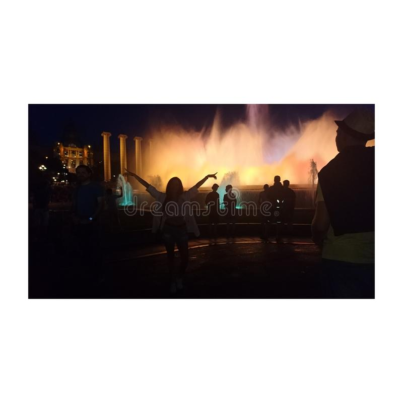 Noches de verano de Montjuic imágenes de archivo libres de regalías