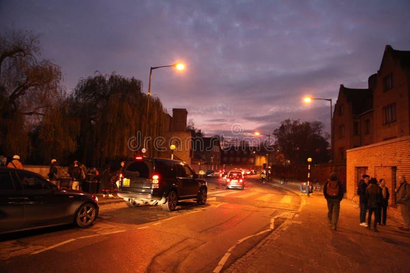 Noches en Cambridge, brit?nicos del invierno foto de archivo libre de regalías