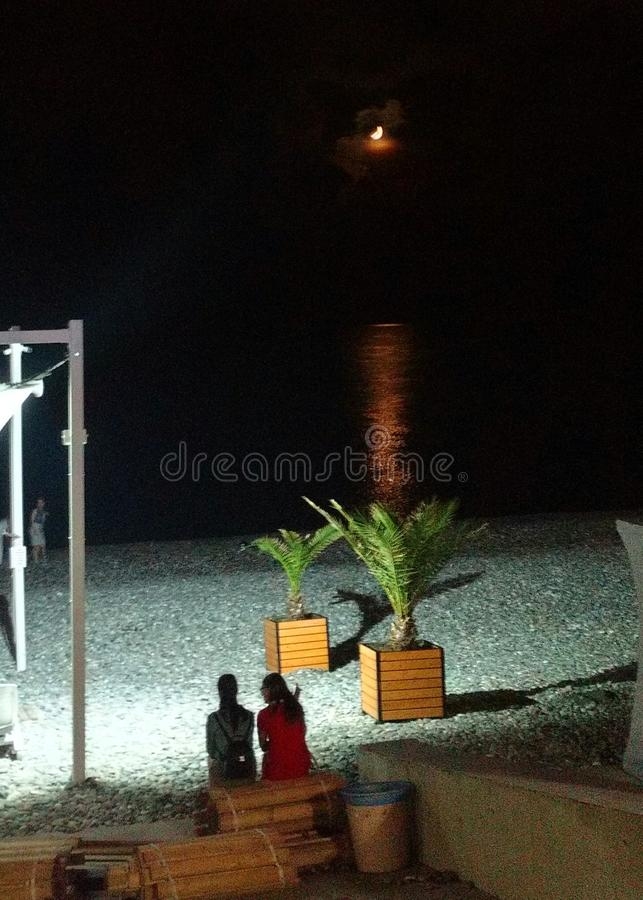 Moonlight on the beach in Sochi. stock photography
