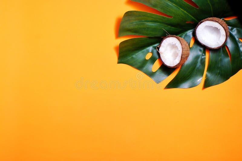 noci di cocco e foglia tropicale della pianta di monstera con su fondo arancio Strato piano, vista superiore, spazio della copia  immagini stock