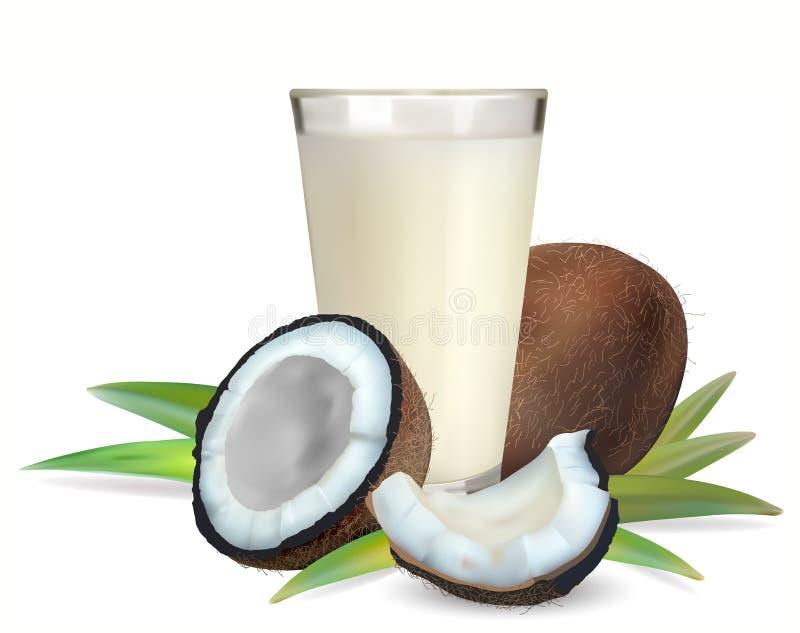 Noci di cocco e un vetro di latte di cocco royalty illustrazione gratis