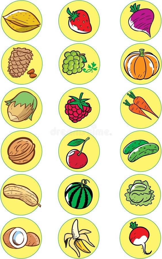 Noci, verdure, frutta illustrazione di stock