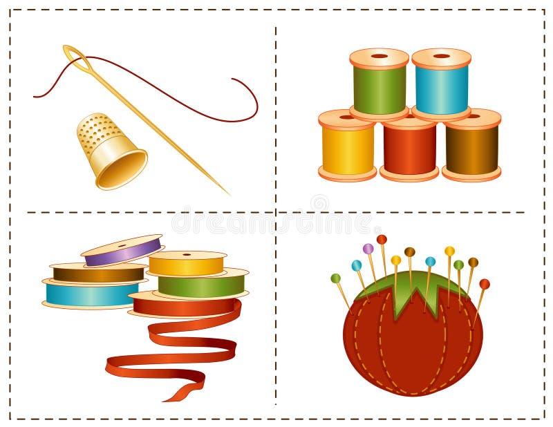 nociones de costura de +EPS, colores de tierra stock de ilustración