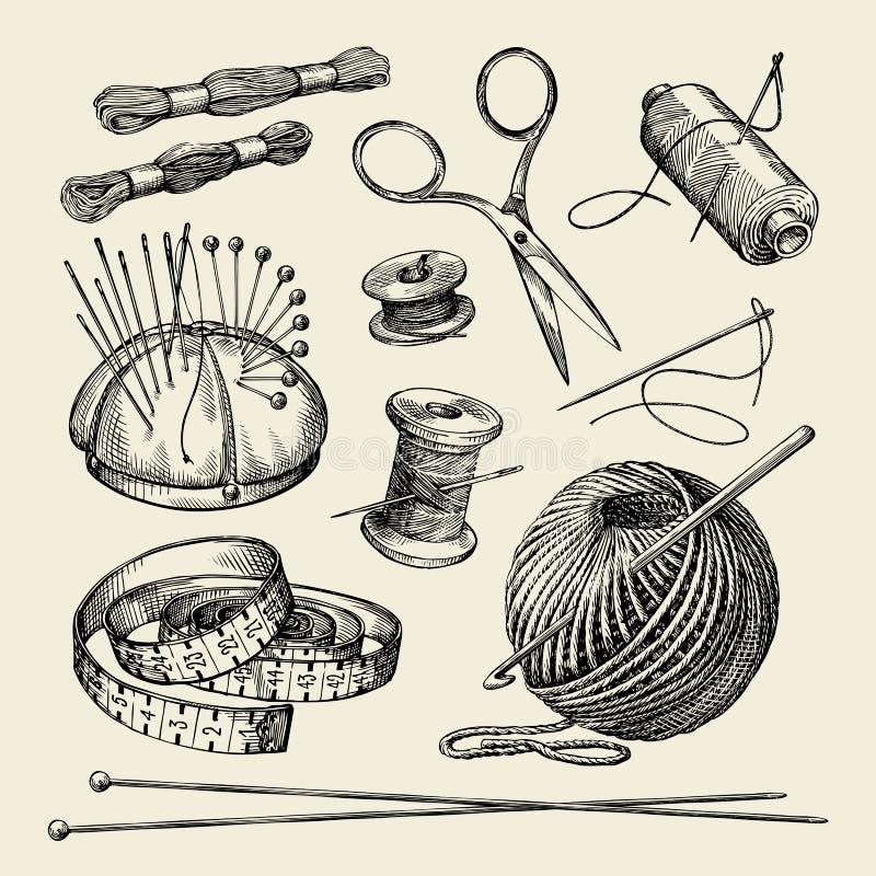Nociones de costura Hilo dibujado mano, aguja, tijeras, hilado, agujas que hacen punto, ganchillo Ilustración del vector stock de ilustración