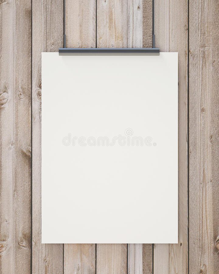 Nock up blank white hanging poster on vertical wooden planks wall, background. Blank white hanging poster on vertical wooden planks wall, background, mock up stock images