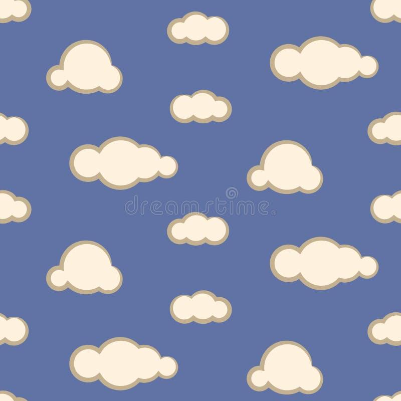 Nocne niebo chmurnieje bezszwowego wektoru wzór royalty ilustracja