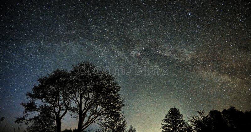 Nocne niebo drogi mlecznej i gwiazd obserwować gwiazdozbiory, Perseus i kasjop zdjęcia royalty free