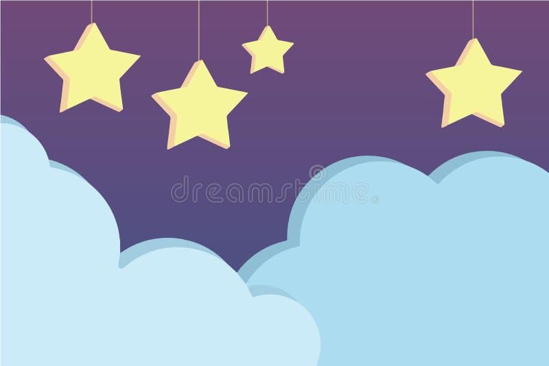 Nocne niebo scena z ślicznego purpurowego kreskówka stylu wektorowym tłem z wieszać trójwymiarowe gwiazdy i bławe chmury, illus ilustracji