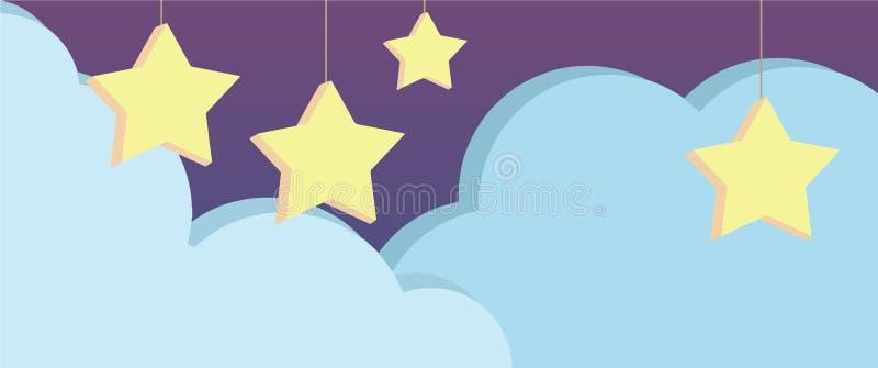 Nocne niebo scena z ślicznego purpurowego kreskówka stylu wektorowym tłem z wieszać trójwymiarowe gwiazdy i bławe chmury royalty ilustracja