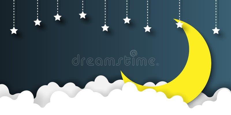 Nocne niebo sztuki papierowy styl ilustracji