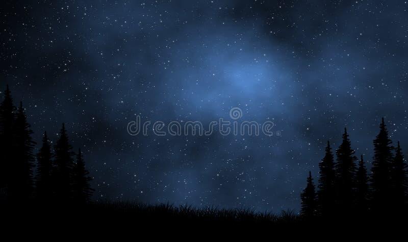 Nocne niebo widok nad sosnowym lasem ilustracji